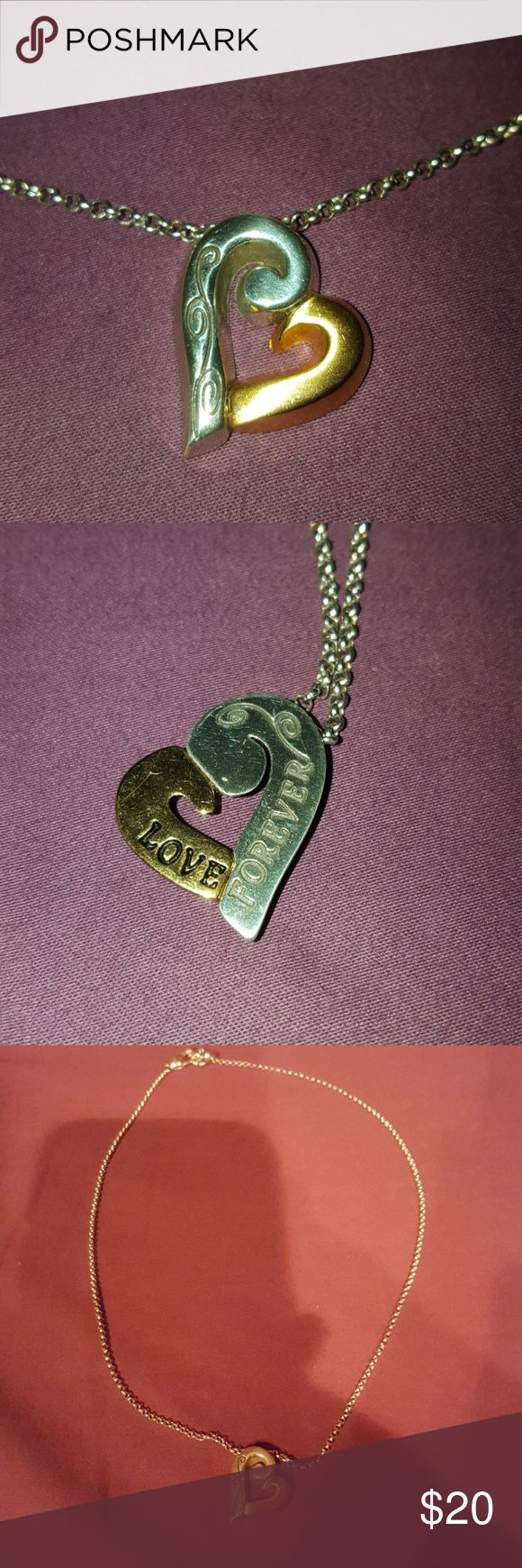 """NEW Brighton Two-tone Heart Necklace New without Tags - silver/gold heart necklace with silver chain. Beautiful scroll detail on front of heart, """"Love Forever"""" with scroll detail on back of heart. Brighton jewelry bag included. Brighton Jewelry Necklaces"""