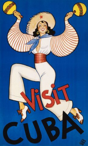 Visit Cuba. From the Cuban Tourist Commission, circa 1950. This vintage Cuban travel poster shows a woman dancing while shaking maracas. Illustrated by Conrado Walter Massaguer. Some versions of this