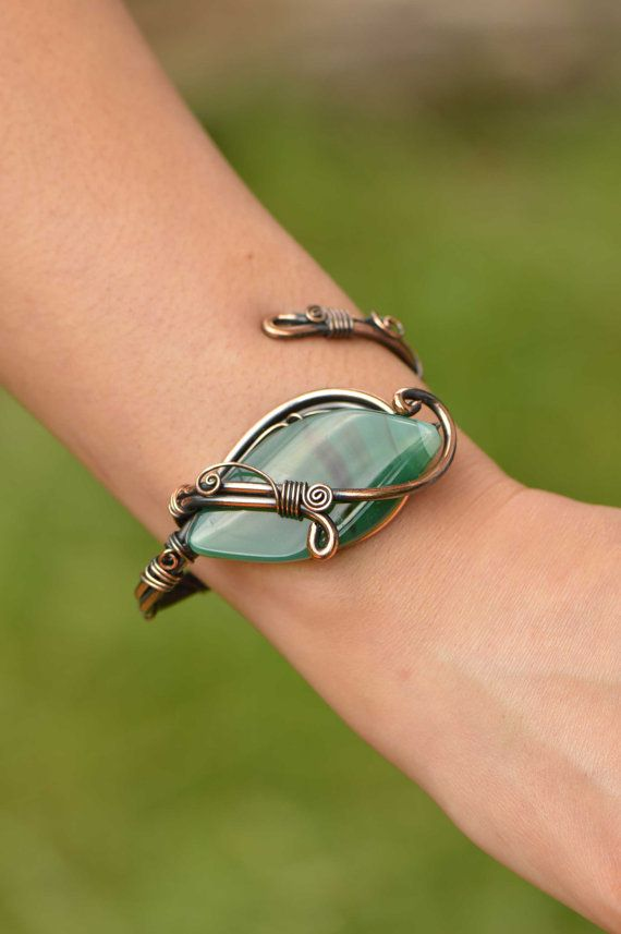 Green Agate -Wire wrapped jewelry hanmade, unique wire bracelet, copper bracelet, Adjustable bracelet, copper jewelry, gift