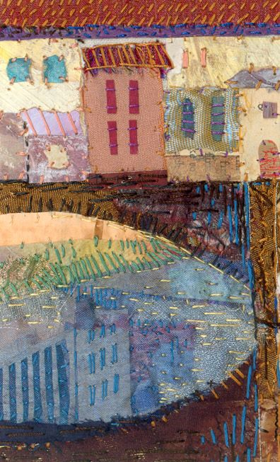 'Ponte Vecchio' a detail of an original hand embroidered textile by Rachel Wright.