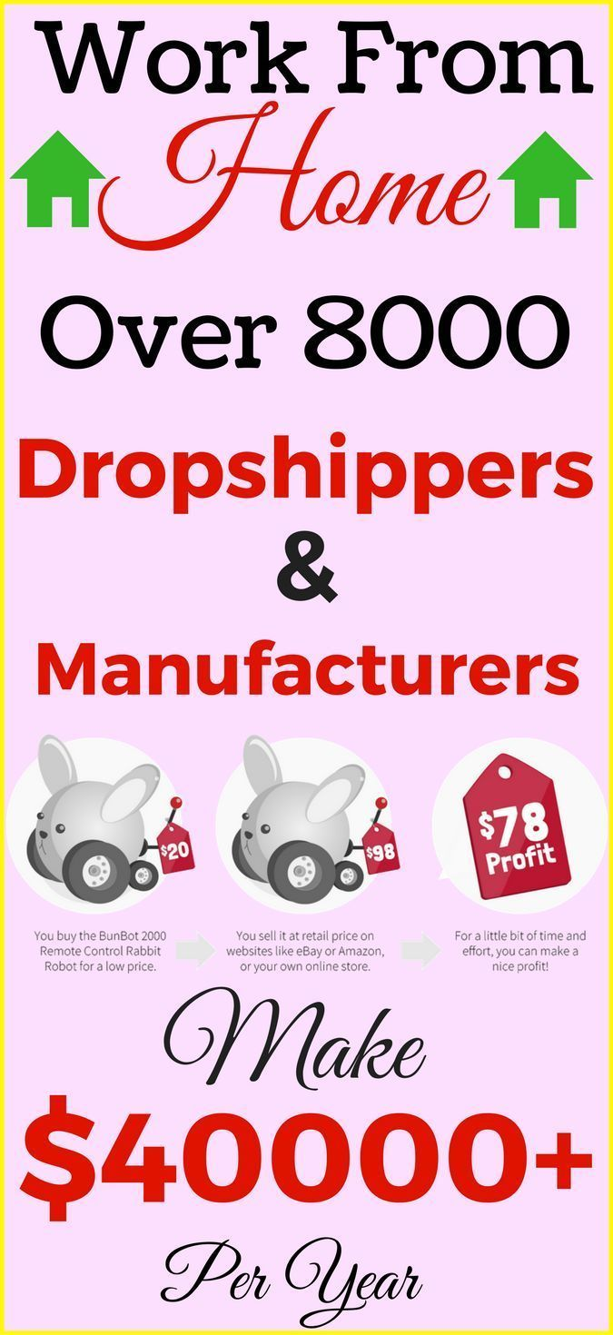 Work from home in 2017. Start dropshipping to make money from home. Step by step guide for beginners. Over 8000 Dropshippers, wholesalers, manufacturers and liquidators suppliers and 1.6 million products. … all certified! Start your own online business and earn money online. Click the pin to see how>>>
