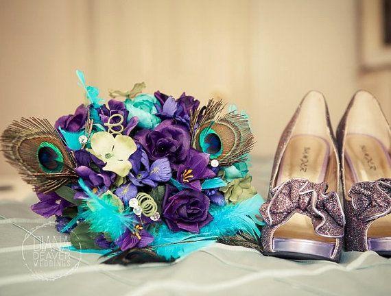 Peacock Bridal Bouquet boutonniere Purple Royal Blue by AmoreBride