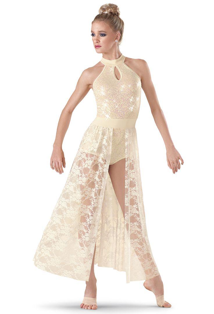 Weissman | Sequin Halter Lace Maxi Dress