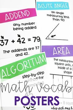 When teaching math, we use so many vocabulary words that students can have a difficult time remembering. I created math vocabulary posters for students to reference in the classroom during math instruction - great for a math word wall!