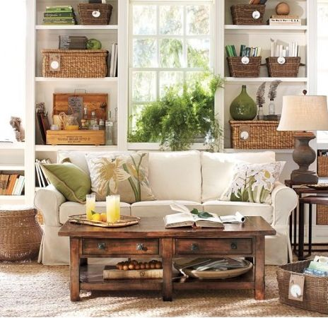 Wood: Potterybarn, Coffee Tables, Decor Ideas, Living Rooms, Color, Coff Tables, Rooms Ideas, Baskets, Pottery Barns