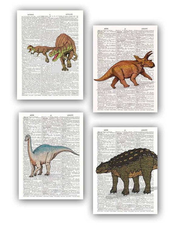 Dinosaur collection, Set of 4 prints,  illustrations, children room wall hanging, Print dictionary, room decor for kids