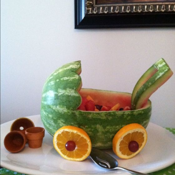 Baby shower fruit carriage..