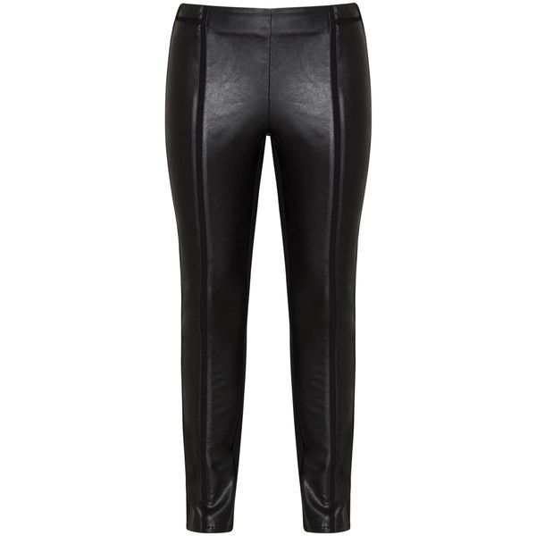 Frapp Black Plus Size Leather effect trousers ($110) ❤ liked on Polyvore featuring pants, black, plus size, real leather pants, mid rise pants, frapp, straight pants and women's plus size leather pants