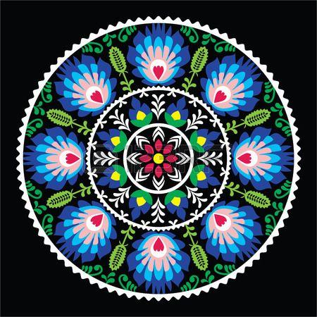Modelo del arte popular tradicional polaca en círculo - wzory Lowickie en negro