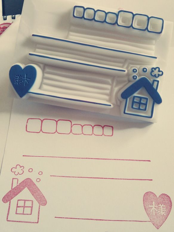 住所枠はんこ★(大)サイズ7㌢×10㌢ハガキ半分サイズに作成してます(*^^*)A4サイズの封筒などに捺したり、使いやすいと思います(*^^*)女...|ハンドメイド、手作り、手仕事品の通販・販売・購入ならCreema。