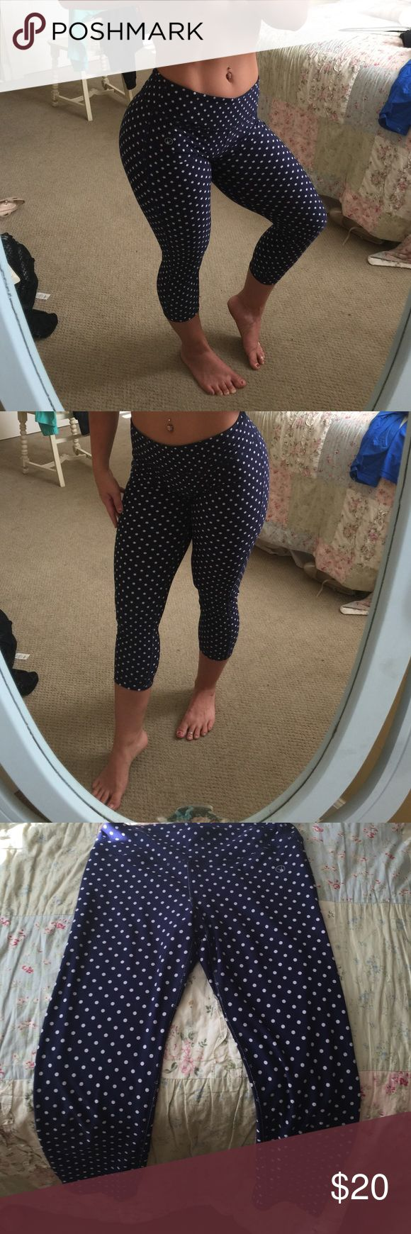 Vogo Athletica Polka dot leggings Navy blue with white polka dots. Super soft and fits in all the right places perfectly Can be used for gym or casual wear. Polyester/spandex blend. Pants Leggings