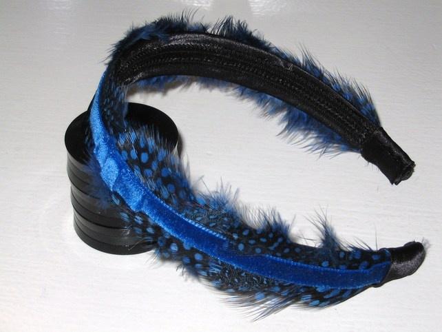 Royal Blue & Black Velvet FEATHER HEADBAND Fascinator Spotted Feathers Hairband £9.99