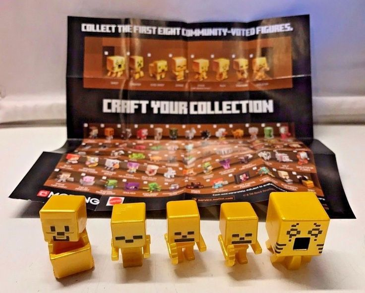 Minecraft GOLD Mini-Figures Chest Series- Ghast/Skeleton/Steve/Zombie + Poster!   #Mattel #Mojang #Minecraft #ChestSeries #Mini-Figures #Steve #Zombie #Skeleton #Ghast #Toys
