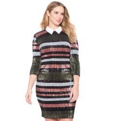 ELOQUII Plus Size Studio Collared Striped Sequin Dress