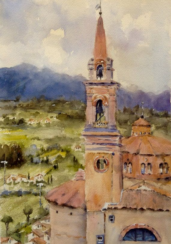 Tuscany Church Italy watercolor painting original by