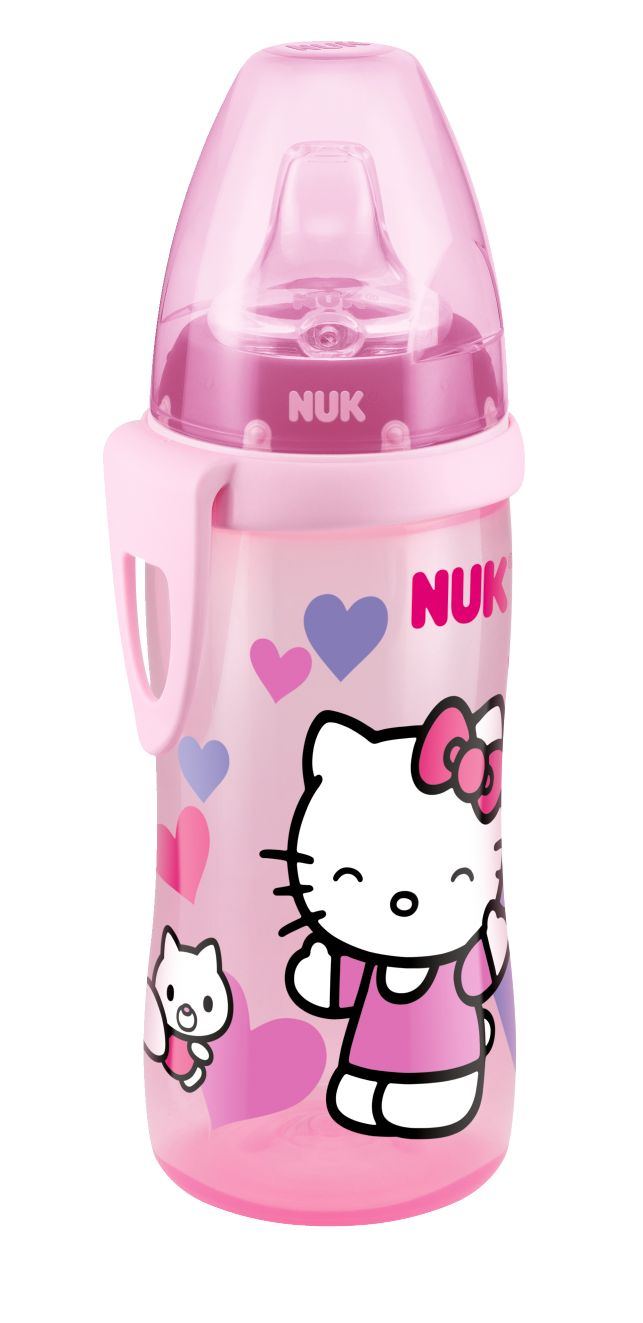 Hello Kitty Active Cup 300ml, com clip e bocal maleável de silicone anti-gota. Ideal para transportar. www.nuk.pt