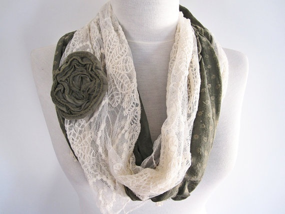 Green Cotton and Cream Tulle Feminine Scarf With Handmade Flower, Woman Fashion, Headband