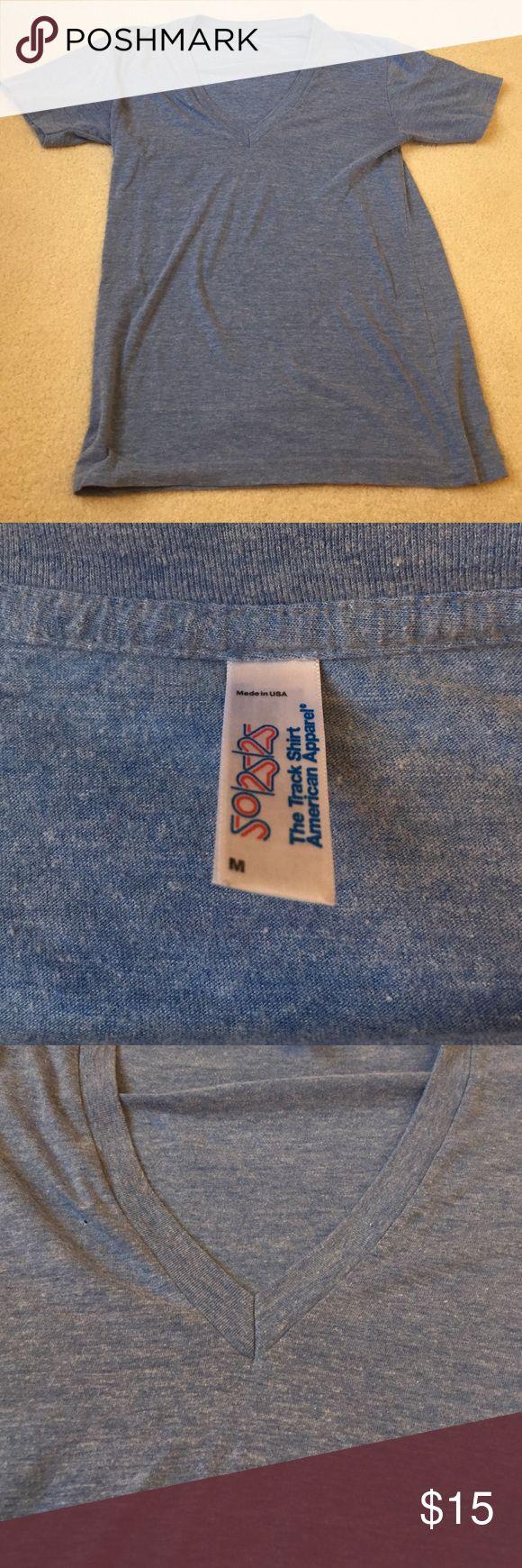 American apparel heather blue Vneck tshirt American apparel. Vneck. Sky/heather/light blue. Lightly worn. Soft! American Apparel Tops Tees - Short Sleeve