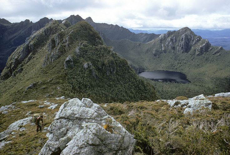The Beggary Bumps and Lake Mimosa from below Mt Taurus. Western Arthurs, SW Tasmania, December, 1969.