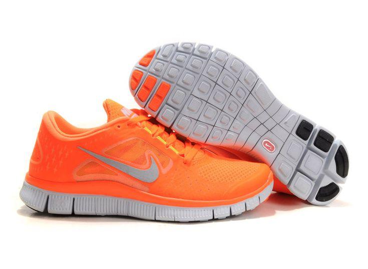 Mens Nike Free Runs 3 Vivid Orange Reflect Silver Pure Platinum Volt Shoes [Tiffany Free Runs 544]-$53.87