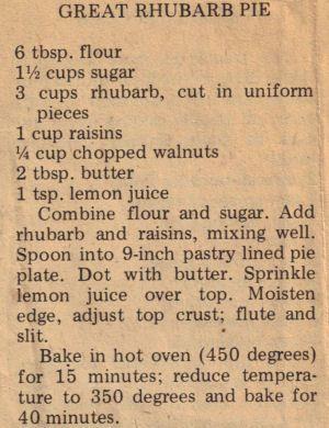 Great Rhubarb pie recipe.