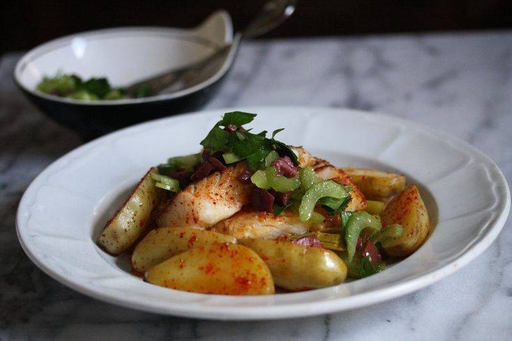 Seared Hake Recipe with Melted Leeks and Fingerling Potatoes