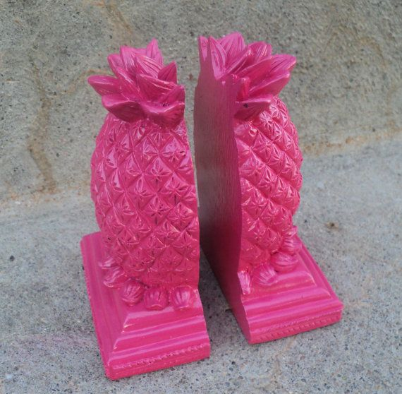 chrome sunglasses Hot Pink Pineapple Bookend Bright Girly Home Decor