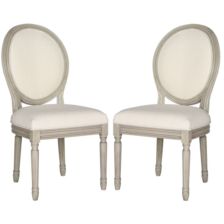Brimming with French country charm, this set of two dining chairs boasts a rustic grey frame, light beige linen upholstery and Provencal-style oval back.
