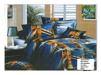 Ropa de cama en efecto 3D 4piezas , algodon 100%.