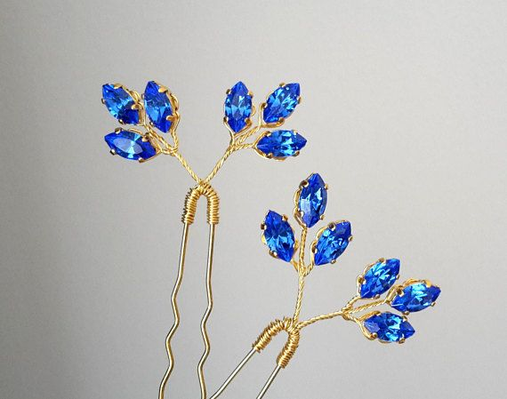 Blue Crystal Hair pins Blue Bridal hair pin Wedding hair pins