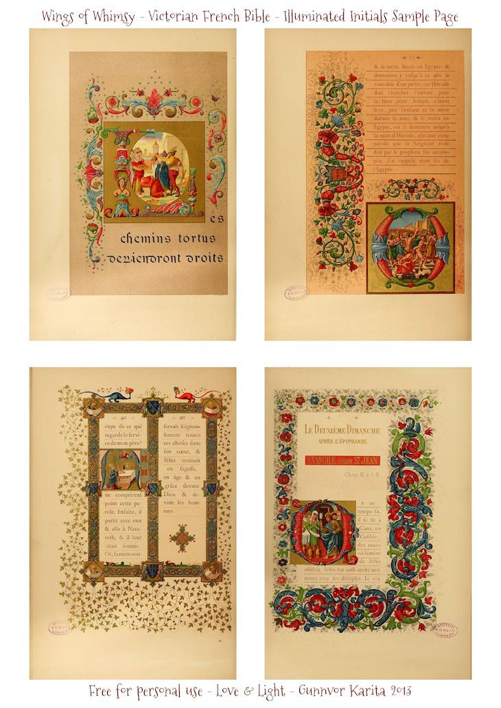 WIngs of Whimsy: Illuminated Victorian French Bible - Les Evangiles 1864 - Sample Page #vintage #victorian #ephemera #pintable