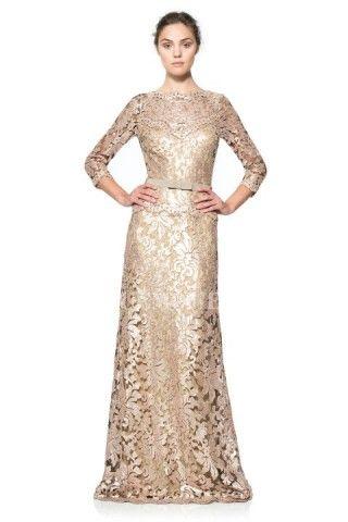 A-Line/Princess Jewel Sweep/Brush Train Lace Evening Dress