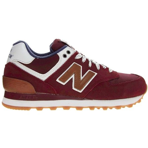 New Balance 574 Canteen Burgundy Sneakers ($98) ❤ liked on Polyvore featuring shoes, sneakers, new balance, baskets, обувь, traction shoes, new balance trainers, grip shoes, laced shoes and grip trainer