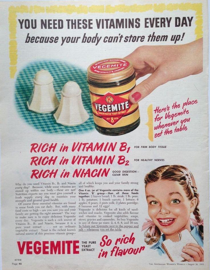 EARLY VEGEMITE AD RETRO JAR ART 1953 original vintage AUSTRALIAN advertising