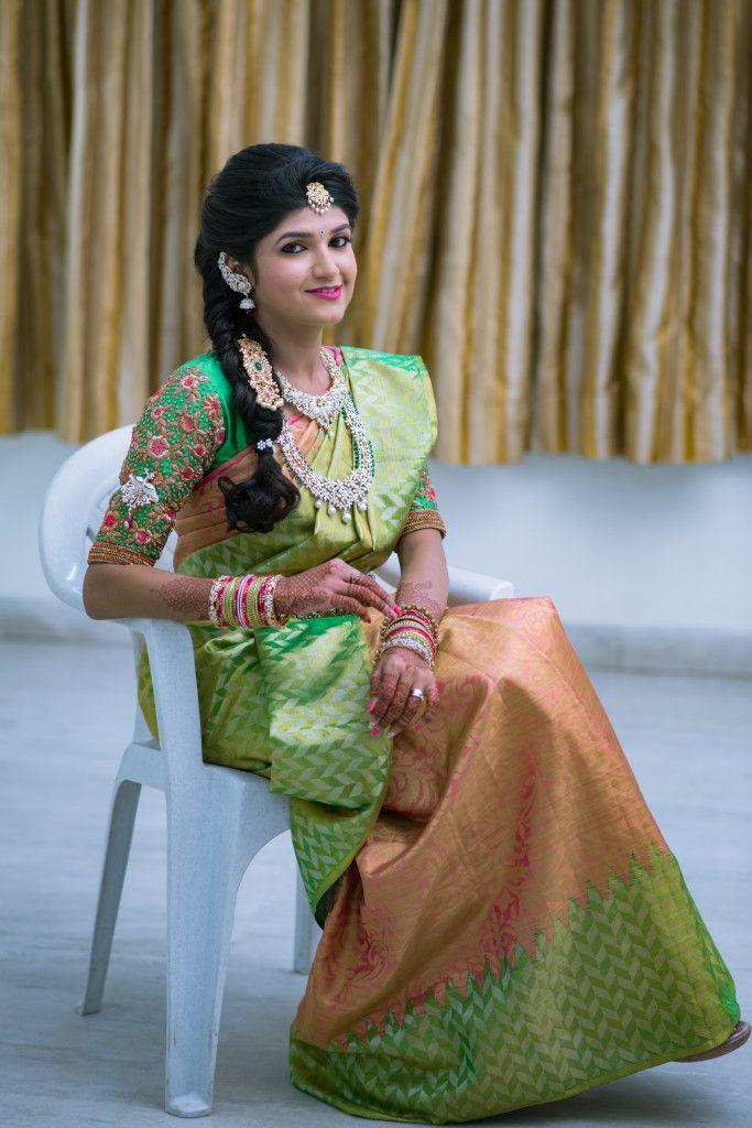 South Indian bride. Green Indian bridal jewelry.Diamond Indian bridal jewelry. Jhumkis. Pink silk kanchipuram sari.Braid with fresh jasmine flowers. Tamil bride. Telugu bride. Kannada bride. Hindu bride. Malayalee bride.Kerala bride.South Indian wedding.