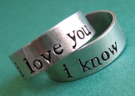 Han Solo and Princess Leia rings to declare your geek love, via Etsy.