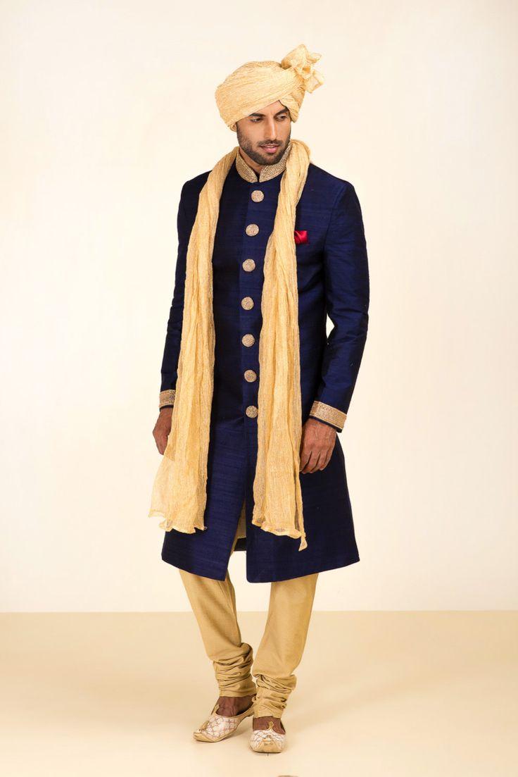 Oshnaar Blue Raw Silk Embroidered Sherwani. #flyrobe #groom #groomwear #groomsherwani #sherwani #flyrobe #wedding #designersherwani