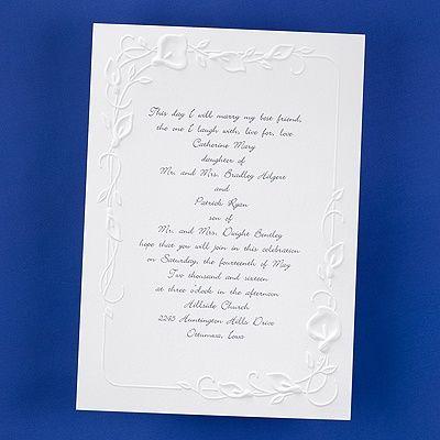 Borders Of Calla Lilies Invitation   Calla Lily Wedding Invitations   Calla  Lilies Wedding Invitations