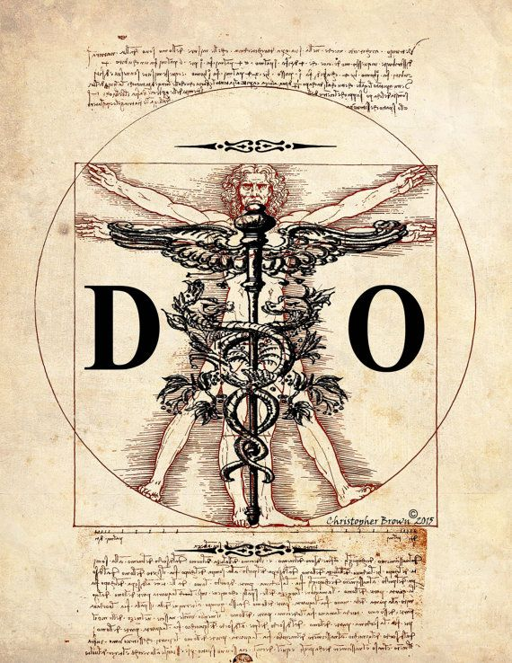 "Fine Art Print - ""Vintage Doctor of Osteopathic Medicine - Vitruvian Man"" - 8.5""x11"", Medical print, Doctor Gift, Doctors room decor by ArtOfThePage"