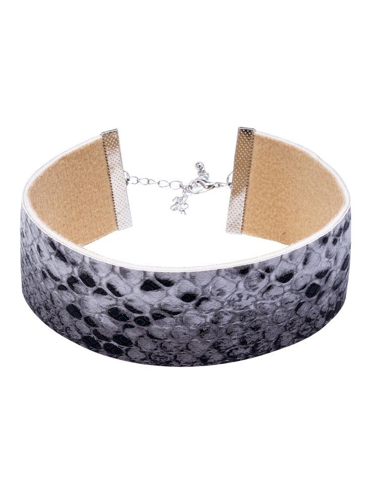Grey Snake Skin Pattern Wide Choker Necklace — 0.00 € -----------color: Grey size: None
