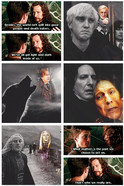 Harry Potter Sirius Black Severus Snape Draco Malfoy Lucius Malfoy Reamus Lupin sad... I wasn't ready for Snape's death this time.