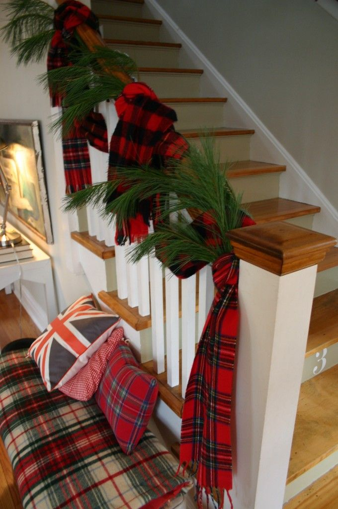 Scarf Garland | Family Chic by Camilla Fabbri ©2009-2012. All rights reserved. -- What a neat idea to use plaid scarves as the focal point in a garland!