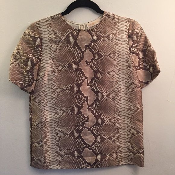 Silk wool Python print top Size 0. Worn once. Silk wool Tory Burch Python printed top. Tory Burch Tops Blouses