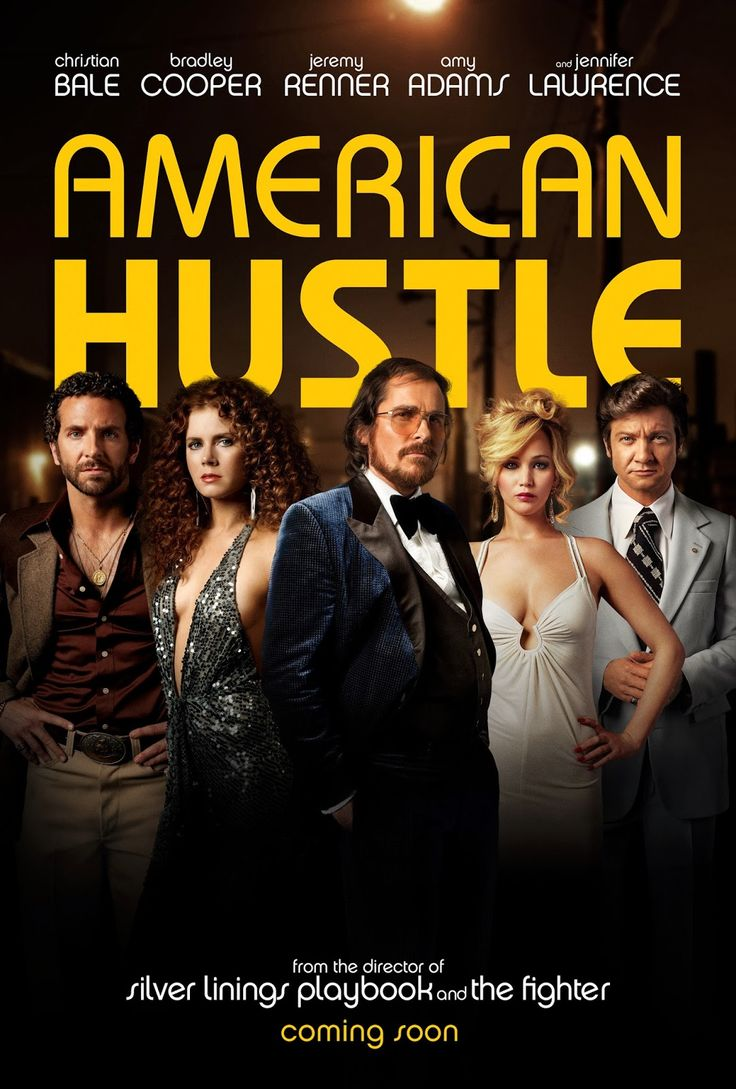 American Hustle (2013) Directed by David O. Russell. Starring: Christian Bale, Amy Adams, Bradley Cooper, Jennifer Lawrence,