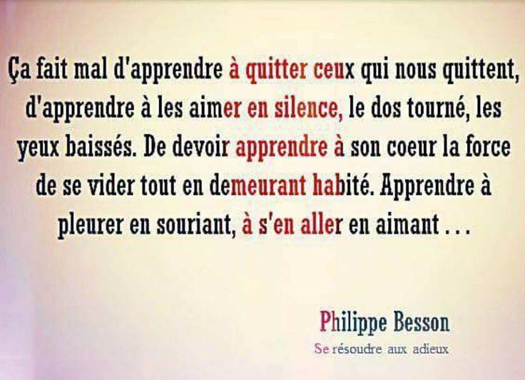Ca fait mal d'apprendre à quitter ceux qui nous quittent, d'apprendre à les aimer en silence... (Philippe Besson)