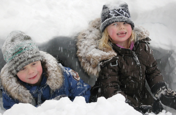 Playing in the snow with PJS jackets!