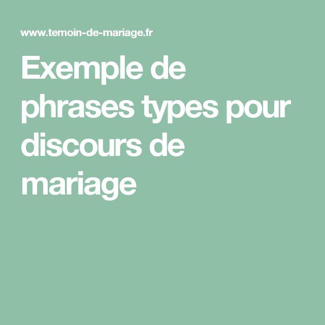 exemple de phrases types pour discours de mariage - Discours Remerciement Mariage