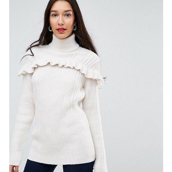 Y.A.S Tall Ruffle Front Roll Neck Jumper ($88) ❤ liked on Polyvore featuring tops, sweaters, white, white top, long sleeve sweater, cable-knit sweater, roll neck sweater and white sweater