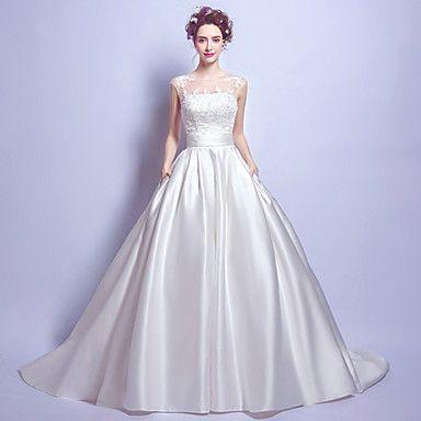 Balklänning Bröllopsklänning Vintage-inspirerad Hovsläp Prydd med juveler Satäng med Spets Ficka – SEK Kr. 15,807