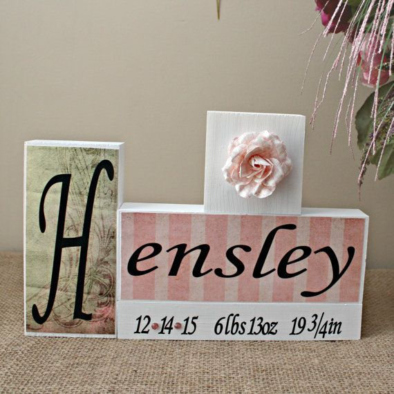 Personalized Baby Name Letter Block  Baby Birth by TimelessNotion